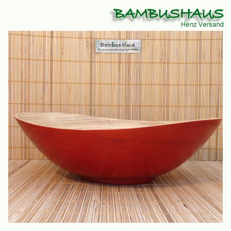 bambus schale bootf rmig rot matt l bambusartikel schalen accessoires bambushaus. Black Bedroom Furniture Sets. Home Design Ideas